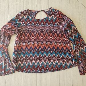 """""""One Clothing"""" Boho Bell Sleeve Top"""